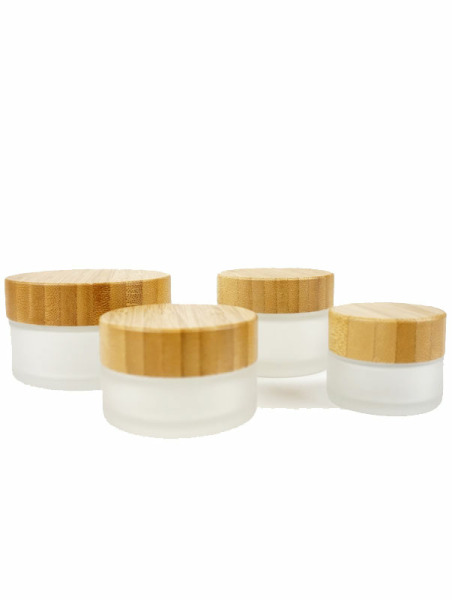 Glass jar with bamboo screw cap, 30ml (Glastiegel mit Bambus-Schraubverschluss, 30ml)